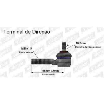 TERMINAL CURTO ROSCA 20MM L|E MERCEDES BENZ MB 180D 93|96